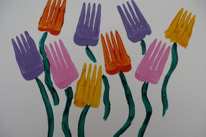 Fork printed flower picture