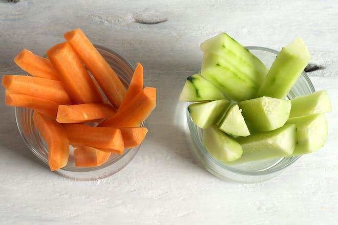 Carrot and cucumber batons