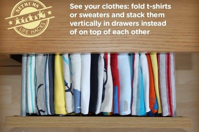 folded coloured shirts