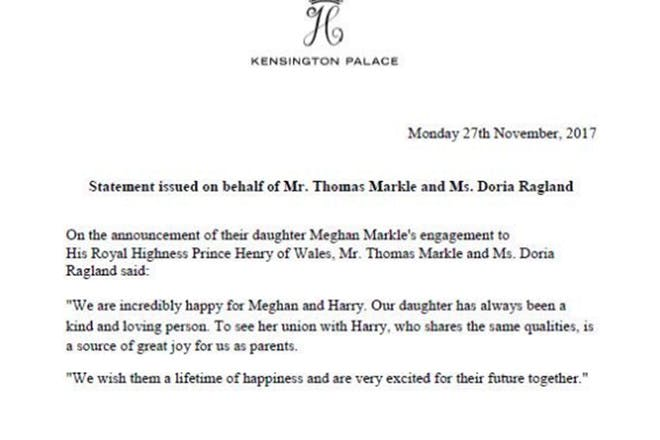 Statement from Meghan's parents on her engagement