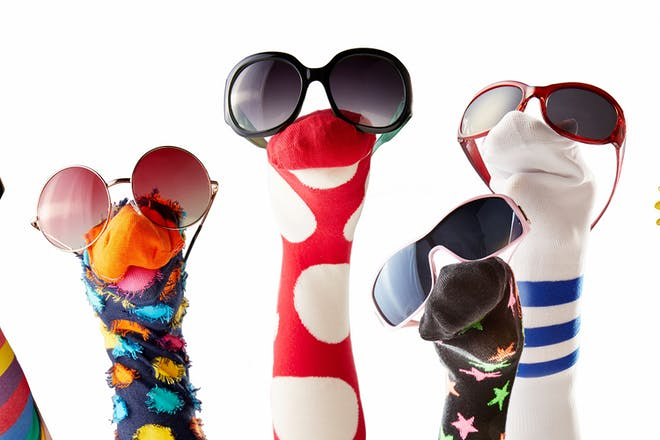 Selection of sock puppets wearing sunglasses