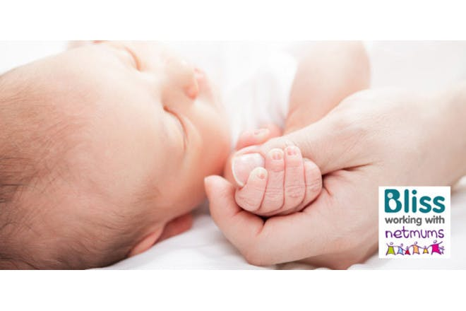 Premature baby with Bliss logo
