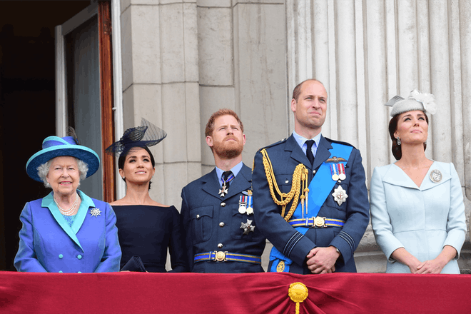 The Queen with Meghan, Harry, William and Kate