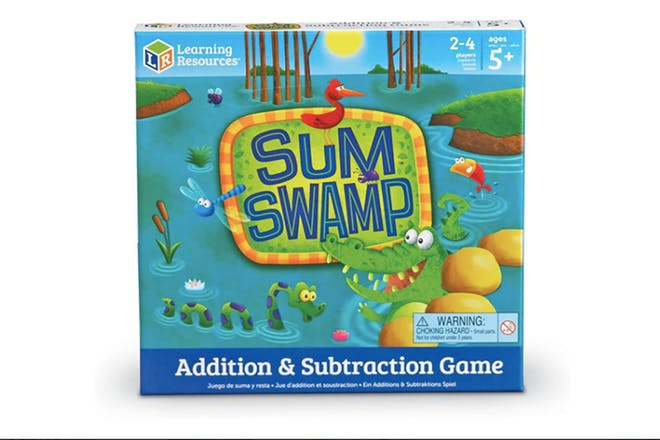 Sum swamp board game box showing a crocodile and monster in a swamp