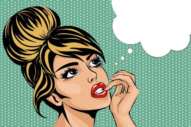 Cartoon woman thinking