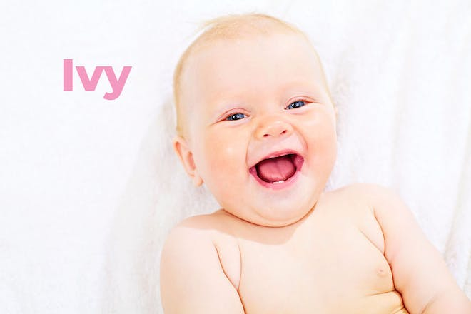 Laughing baby with name Ivy written in text