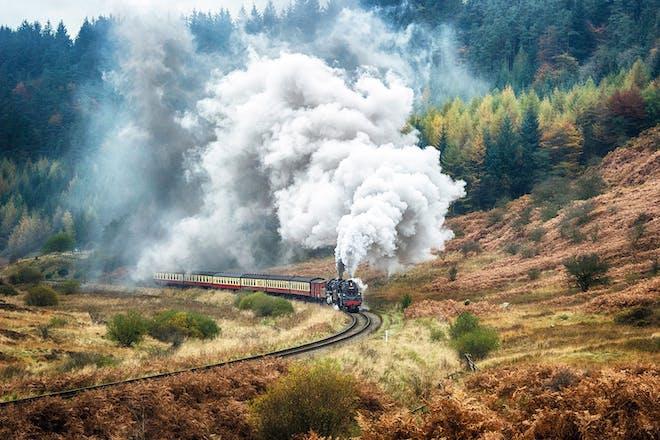 North Yorkshire Moors Railway steam train travelling through the Yorkshire Moors