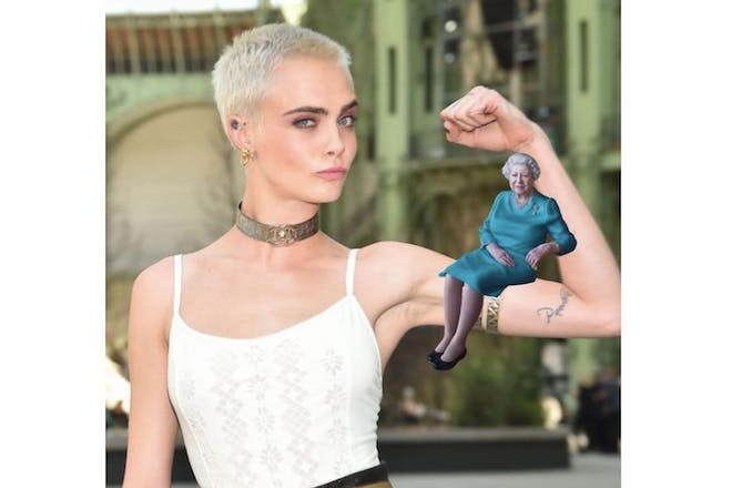 Cara Delevingne with the Queen photoshopped on her shoulder