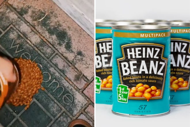Left: Beans on doormatRight: Bean cans