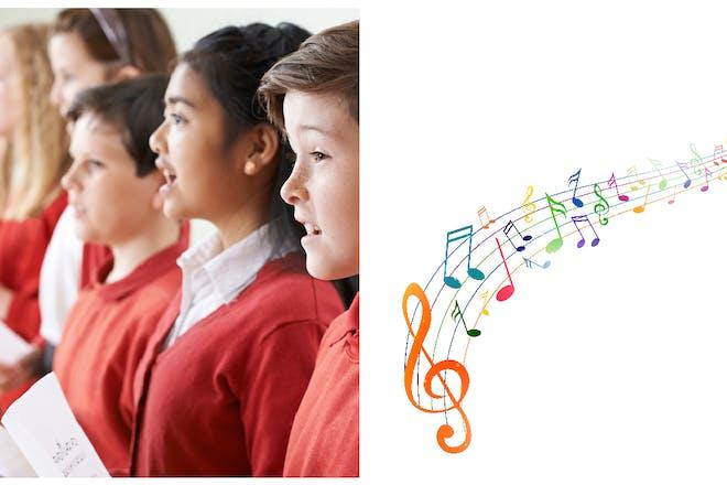 School pupils singing in choir / music notes