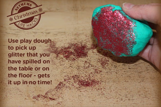 play dough covered in glitter