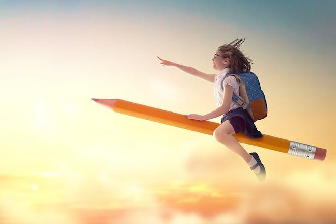 Girl in school uniform sitting on flying pencil