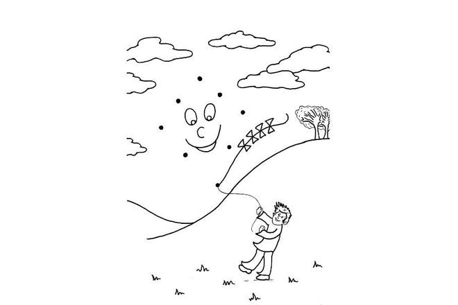 boy flying kite in park