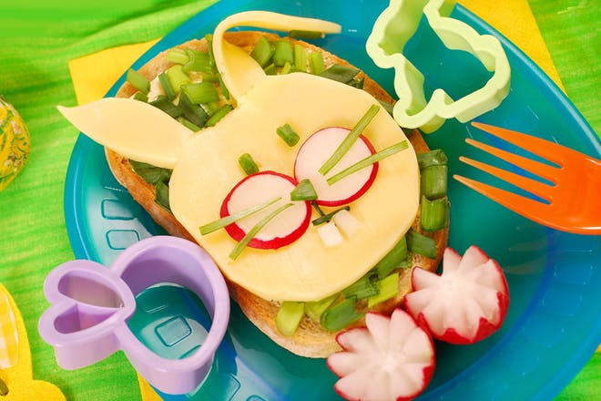 open sandwich with cheese in the shape of a rabbit