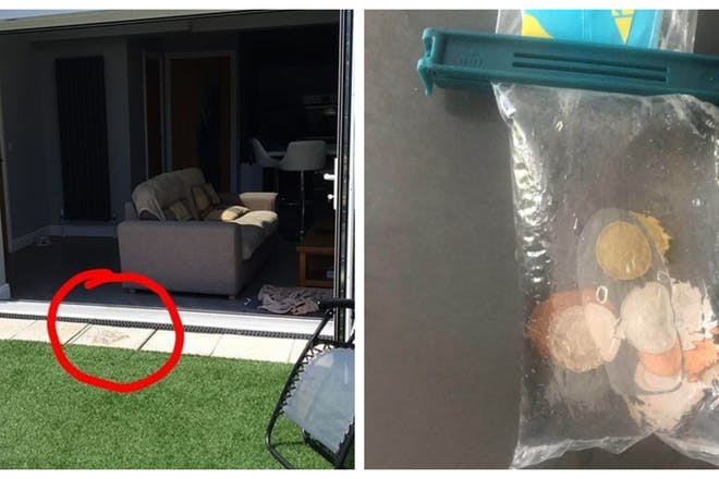 House with bag of water placed on floor / Bag of water with coins in it