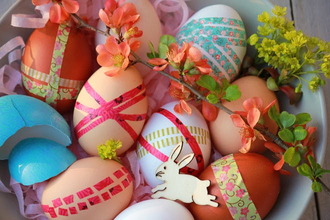 washi tape decorated easter eggs