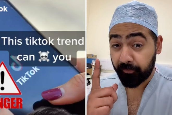Left: Text about TiktokRight: Doctor