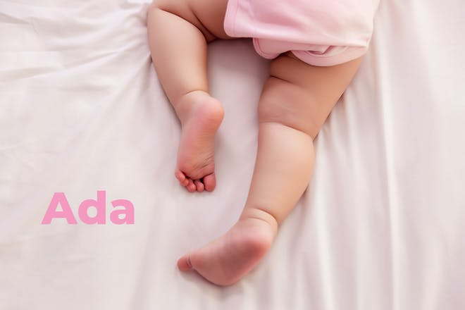 Baby's legs crawling. Name Ada written in text