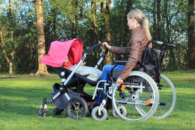 Mum in wheelchair with baby