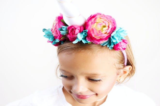 Girl dressed as a unicorn