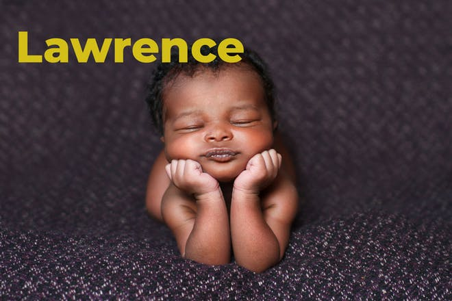 Baby with face propped up on hands. Name Lawrence written in text