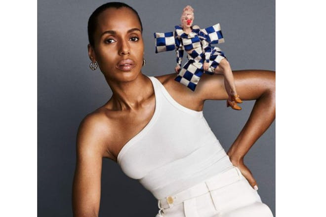 Kerry Washington with Katie Perry on her shoulder