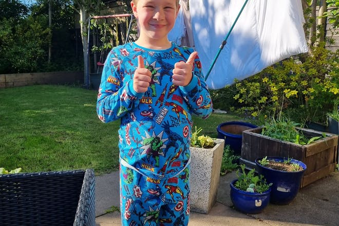 Boy with pyjamas on