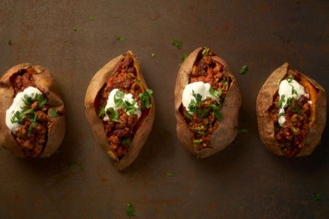 Baked sweet potatoes with vegetarian chilli