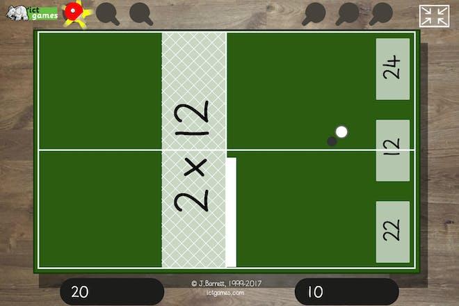 Tables tennis maths games