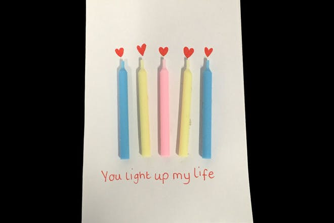 candle Valentine's card