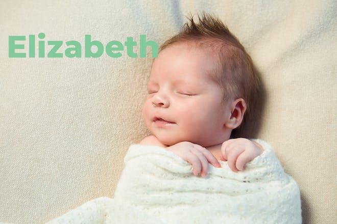 Baby sleeping in swaddle. Name Elizabeth written in text