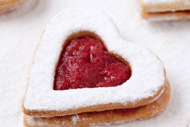heart shaped jammy biscuits