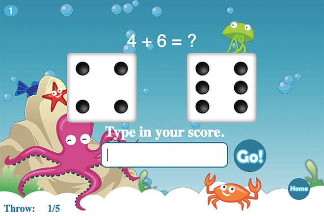 Screenshot from roll the dice maths game showing two dice and the sum 4 + 6 on an underwater background