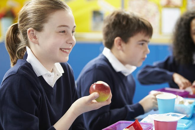 schoolgirl eating packed lunch and holding an apple