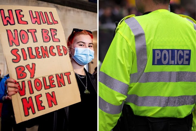 Left: Woman holding signRight: Police officer