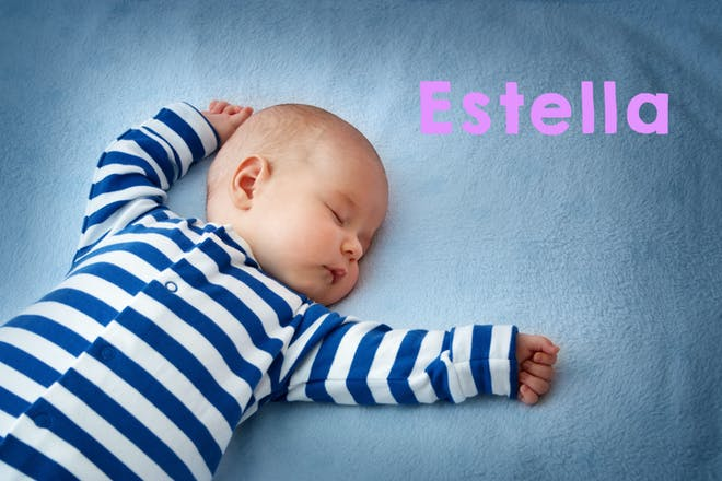 Sleeping baby in blue striped pyjamas