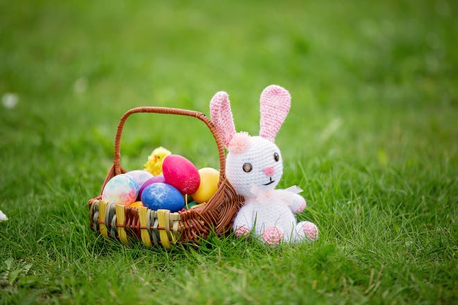 Easter bunny toy and basket