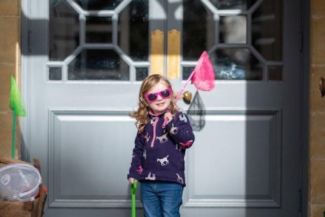 Little Girl in Wellies With Fishing Net Fowey Hall Hotel Cornwall