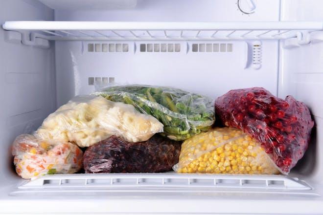 Food in bags in freezer