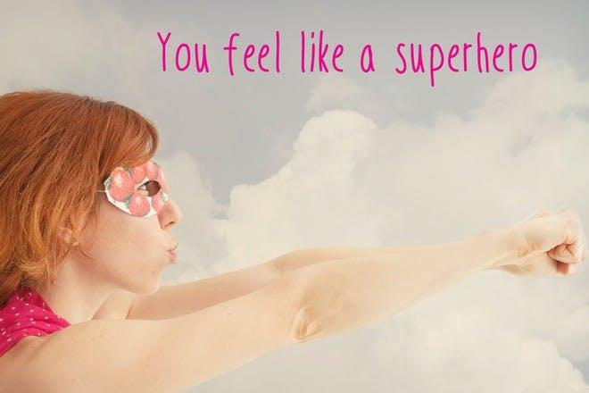 woman being superhero