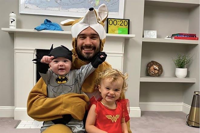 Joe Wicks with his children all wearing fancy dress