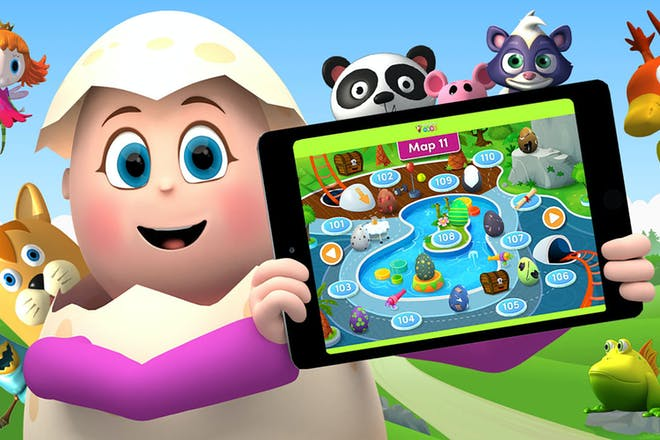 Reading eggs character holding up a tablet with game on it