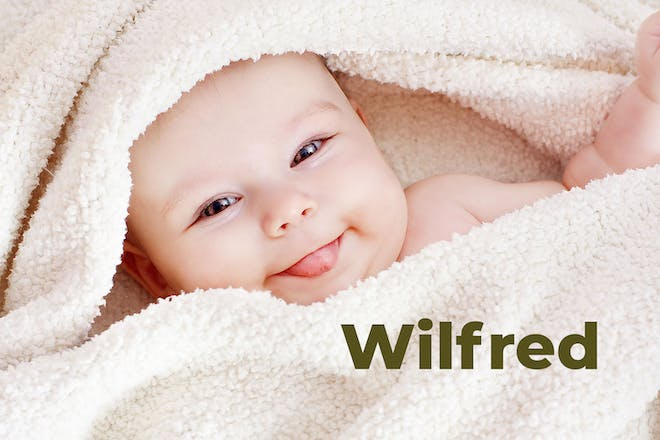 Baby wrapped in towel. Name Wilfred written in text