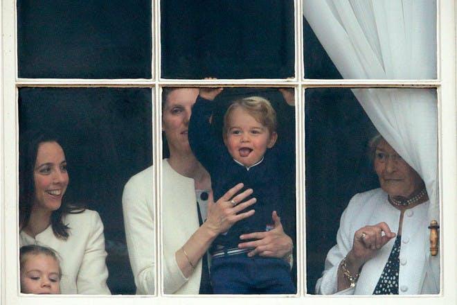 Prince George in Buckingham Palace window