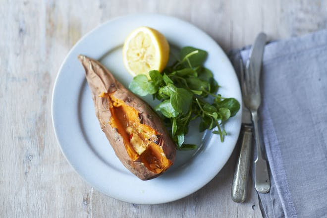 Sweet potato jackets with lime, chilli and ginger butter