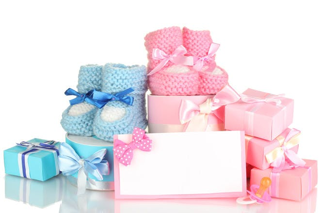 baby boy and girl booties and gifts