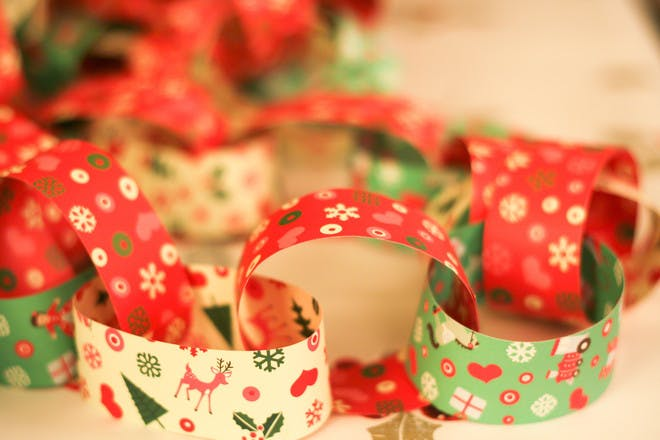 paper chains made from festive christmas paper