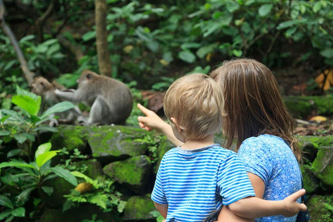 Mum holding child and looking at monkeys