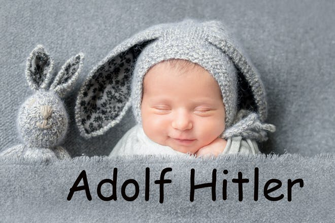 A baby sleeping, with the name 'Adolf Hitler' written in text