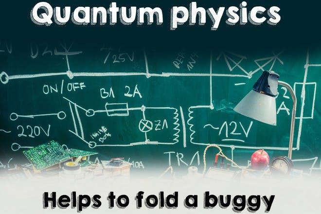 physics equations on green chalk board